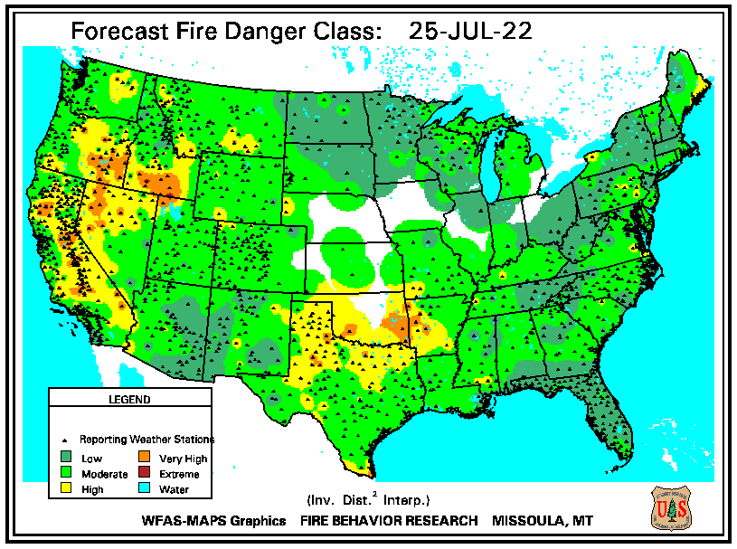 Forecast Fire Danger Rating Continental Map
